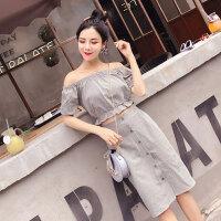 格子套装裙潮 夏季新款一字肩短款上衣高腰单排扣半身裙气质2件套