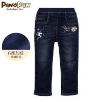 【1件4折 到手价:239】Pawinpaw卡通小熊童装冬女童牛仔裤中小童卡通印花裤