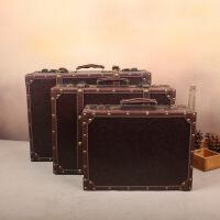 行礼拉箱手拉箱美式复古手提箱木箱子民国皮箱做旧摆件旅行箱橱窗陈列摄影道具箱褐色裂纹棕 褐色 裂纹棕