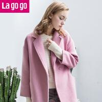 Lagogo韩版女装中长款女士呢子大衣冬季宽松毛呢外套女秋冬装新款