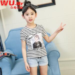 乌龟先森 T恤 儿童棉质圆领短袖韩版条纹上衣女童夏季新款时尚潮流百搭可爱中大童打底衫