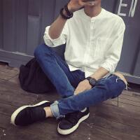 春装韩版亚麻白衬衫男士长袖小领修身潮日系复古棉麻休闲衬衣