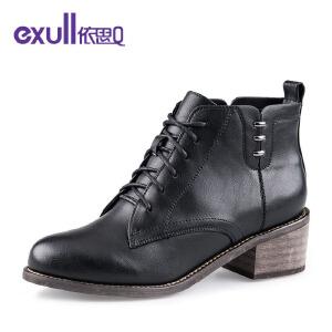 依思q新款复古马丁靴系带粗跟高跟短靴女靴