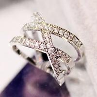 优雅气质多层水钻百搭欧美韩版女戒时尚夸张女士戒指食指
