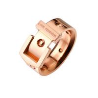彩金情侣戒指男彩金装饰品礼物戒指女镀18k玫瑰金皮带戒指