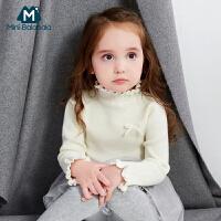 【每满100减50】迷你巴拉巴拉女童白色毛衣新款针织毛衫宝宝打底衫套头上衣3-6岁