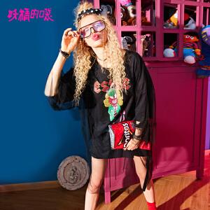 妖精的口袋pphome裙子长款2018新款原宿chic假两件连衣裙女