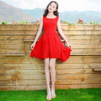 夏季新品女装红色短裙子无袖雪纺连衣裙波西米亚沙滩裙海边度假裙 红色 X247
