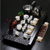 陶瓷茶具套装 冰裂功夫茶具整套 电磁炉四合一木茶盘 茶壶茶海 套餐20 祥云青花牡丹 39件