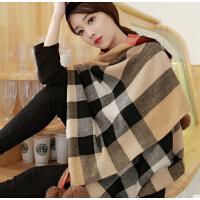 韩国围巾女獭兔毛球流苏 冬季保暖超大规格纹 围巾披肩