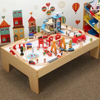 儿童托马斯小火车套装游戏桌 兼容brio木质轨道拼装玩具 三层停车场电动火车轨道 桌子120*80*36 默认