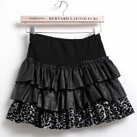 豹纹碎花裙pu皮裙短裙子 韩版女裙半身裙春夏新款打底蓬蓬裙 黑色 均码