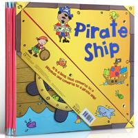 【全店300减100】进口原版进口 Pirate Ship 变形海盗船 儿童学习玩具地板书可折叠立体变形纸板玩具书 组装