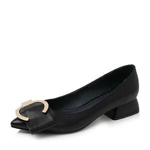 Tata/他她2017秋季羊皮金属几何大扣尖头套脚女皮鞋D1738CQ7