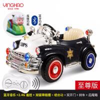 创意新款儿童复古电动车四轮摇摆童车警车遥控汽车宝宝车可坐人老爷车