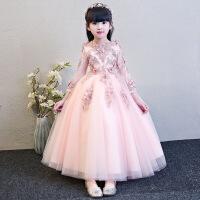 儿童礼服公主裙女童蓬蓬纱长袖钢琴演出服生日晚礼服花童婚纱秋冬