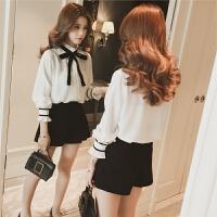 春季韩版学生蝴蝶结衬衣宽松木耳边打底雪纺衬衫女长袖显瘦上衣潮 白色