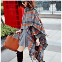 围巾时尚保暖超长女披肩斗篷秋冬季两用加厚 韩版新款格子围巾