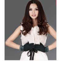 新款韩版女士羊毛线分指手套 高贵气质蕾丝珠片可爱蝴蝶结手套