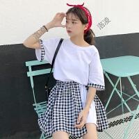 时尚套装女夏装新款韩版学院风宽松短袖T恤+格子半身裙两件套学生