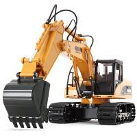 充电无线遥控汽车玩具儿童男孩 遥控挖掘机 电动合金工程车挖土机