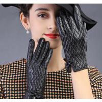 保暖羊皮女士女冬季菱形格蝴蝶结手套皮手套加厚真皮手套