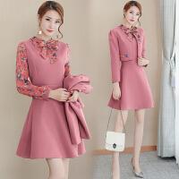 时尚两件套秋装新款女装韩版修身毛呢连衣裙秋冬裙子