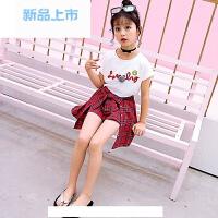 童装女童夏装格子套装2017新款潮衣儿童韩版夏季短袖两件套潮