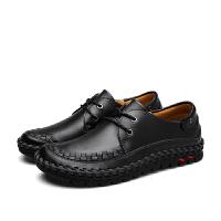 CUM 潮牌男士休闲皮鞋套脚手工缝线个性潮牛皮懒人软面皮鞋