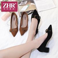 ZHR2018春季新款韩版浅口单鞋尖头高跟鞋粗跟休闲鞋复古百搭女鞋J37