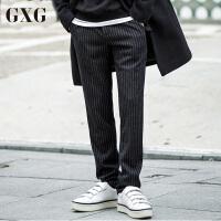 GXG休闲裤男装 秋季男士修身潮流气质韩版时尚羊毛呢料条纹长裤男