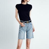 Lee Cooper牛仔短裤女薄款纯色中裤外穿宽松舒适五分裤牛仔裤女