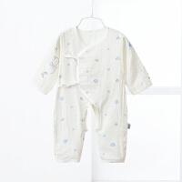 衣服初生婴儿连体衣夏季男女宝宝绑带纱布开裆哈衣