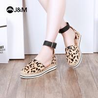 jm快乐玛丽2018夏季新款时尚潮平底豹纹系带松糕麻底女凉鞋51251W