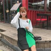 秋冬新款韩版圆领长袖撞色假两件宽松套头毛衣中长款针织连衣裙女 绿色 均码 (160/84A)
