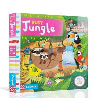 【全店300减100】进口英文原版忙碌的丛林Busy books:Busy Jungle抽拉机关书3-5岁