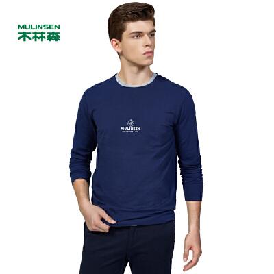 木林森男装 春新款男士卫衣秋装修身长袖t恤衣服韩版潮圆领体恤外套11370602