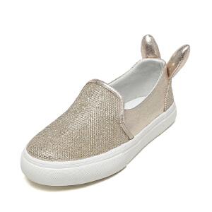 shoebox鞋柜新款春季女童休闲鞋兔耳朵鞋跟闪亮公主板鞋舒适内里