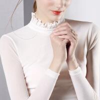 高领网纱打底衫女长袖2018新款秋季上衣女雷丝T恤黑蕾丝衫春秋季