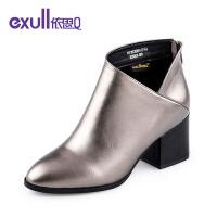 依思q冬季新款粗跟方跟高跟短靴时尚潮流及踝靴女靴