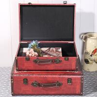 仿古皮箱做旧装饰品摆件橱窗陈列手提箱复古木箱子道具箱子
