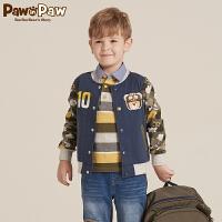 【2件2.5折 到手价:150】Pawinpaw宝英宝卡通小熊童装秋季款男童迷彩外套