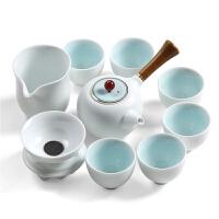 功夫茶具整套哥窑6人陶瓷器汝窑简易茶杯办公室创意家用套装定窑