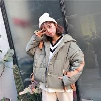 冬季女装韩版学生加厚系带外套宽松短款连帽面包服棉衣学生潮