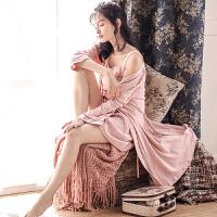 庆同睡袍女式春秋棉长袖冬季性感睡衣吊带睡裙两件套长款浴袍 豆沙色
