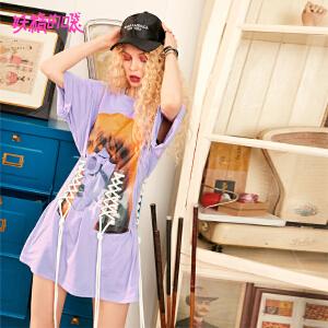 【低至1折起】妖精的口袋圆领趣味短袖秋装2018新款个性宽松chic条纹t恤女