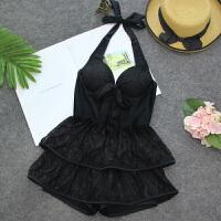 性感泳衣女连体裙式露背蕾丝裙温泉韩国显瘦遮肚小胸聚拢泳装 黑色