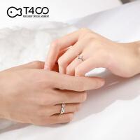 T400情侣戒指纯银一对女男爱情信物对戒情侣生日礼物送女朋友刻字