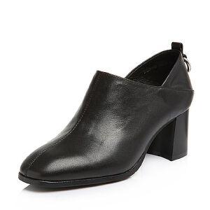 BASTO/百思图2018春季专柜同款黑色牛皮简约纯色方头粗跟女皮鞋AQ153AM8