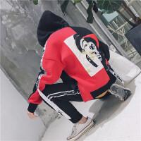 新款欧美潮插肩袖连帽套头印花卫衣男秋冬个性高街风织带宽松帽衫